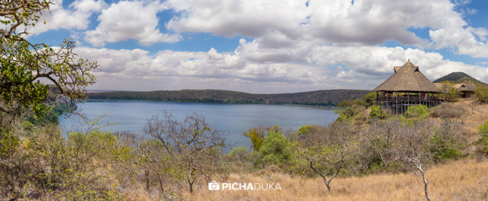 A panorama of Lake Chala Safari Lodge on 22nd August 2017.