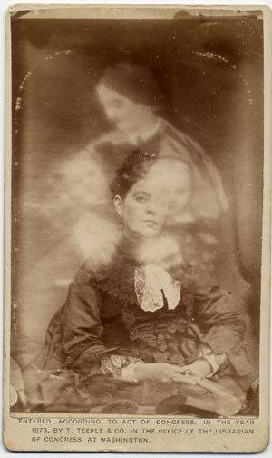 "A Victorian era ""spirit photograph.""  Images were double-exposed for this effect, but because the medium was so new, most sitters were unaware of the trickery."