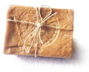 PHOTO: A bar of handmade soap wrapped with a twine bow.