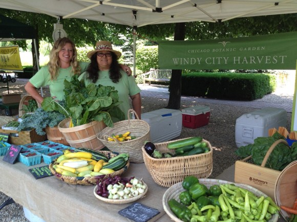 From left, Sophie Krause and Myrna Vazquez, sell Windy City Harvest produce at the Chicago Botanic Garden Farmer's Market.