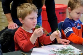 PHOTO: A student in class is examining evergreen needles.