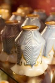PHOTO: Delicately detailed porcelain light shades.