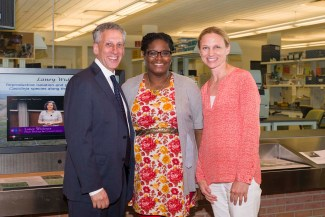 PHOTO: Masters program graduate Alicia Foxx with Northwestern University Provost Daniel Linzer, and Chicago Botanic Garden President and CEO Sophia Shaw.