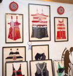 Booth #115, Julie Harris: Framed vintage bathing suits.