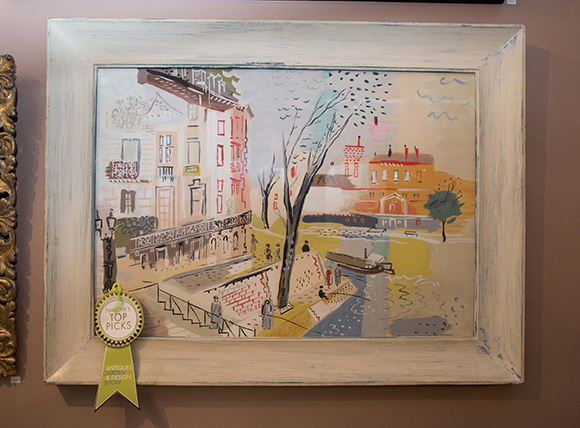 Booth #121, Village Braider: A 1950s painting similar to the style of French painter Raoul Dufy.