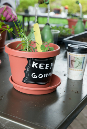 PHOTO: Chalkboard plant pot.