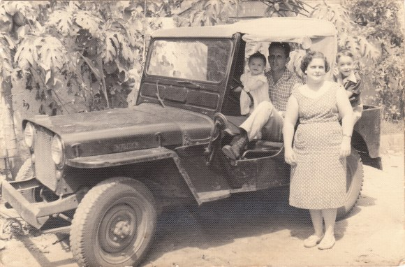 PHOTO: My mother and grandparents and uncle on the family farm in Matanzas province with my grandfather's most memorable purchase: his Jeep.
