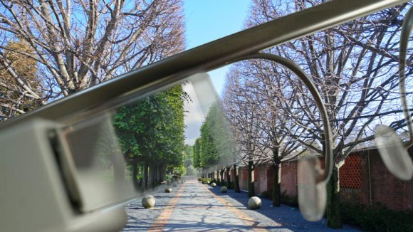PHOTO: Google glasses showing a spring view through the prism, while the landscape is brown and wintry.