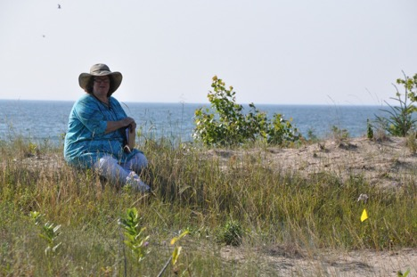 PHOTO: Kay Havens, ready to record data at Ship Canal Nature Preserve, owned by the Door County Land Trust.