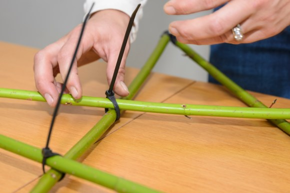 PHOTO: Secure the inner joints of the base star with zip ties.