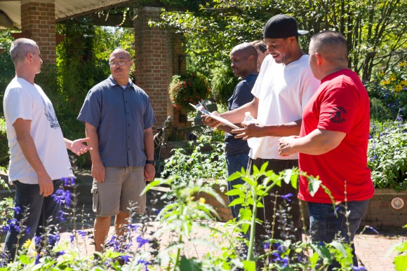 PHOTO: Vets gather in the garden, discussing plans.