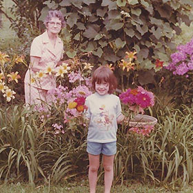 PHOTO: Amy Wells as a child in her grandmother's garden.