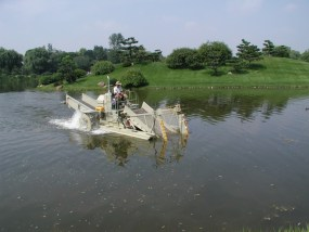 The Garden's aquatic plant harvester cuts and removes excessive aquatic vegetation and algae from the Garden lakes.