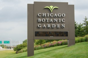 PHOTO: Panoramic shot of the garden visible through and behind our sign on the Edens expressway.