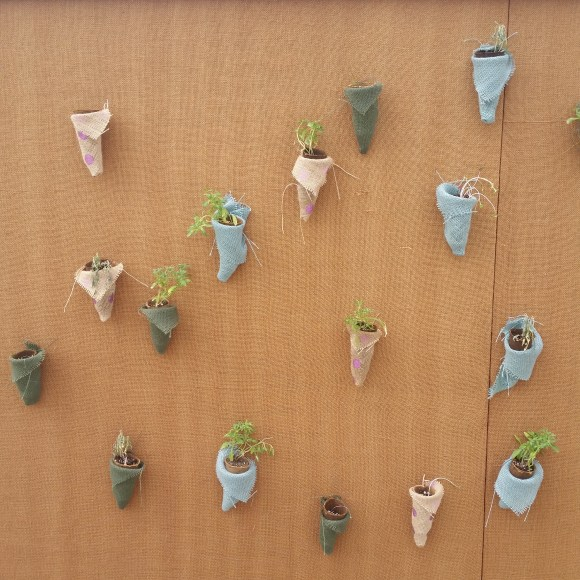sixteen cone-shaped pockets containing small plants are displayed on the brown walls.