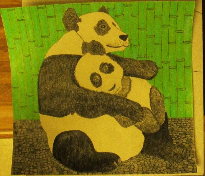 The completed panda bear drawing with the bamboo tree wall, and the pebble floor.