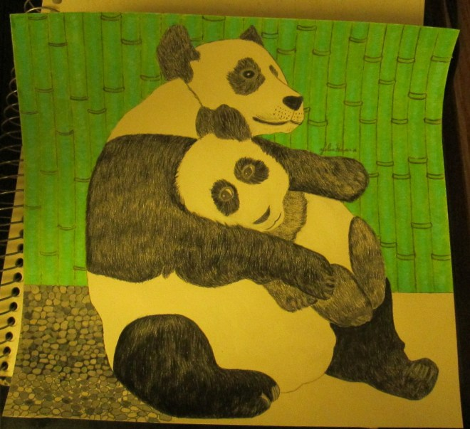 I used several different of gray colored pencils to create the pebble path the pandas are lounging on.