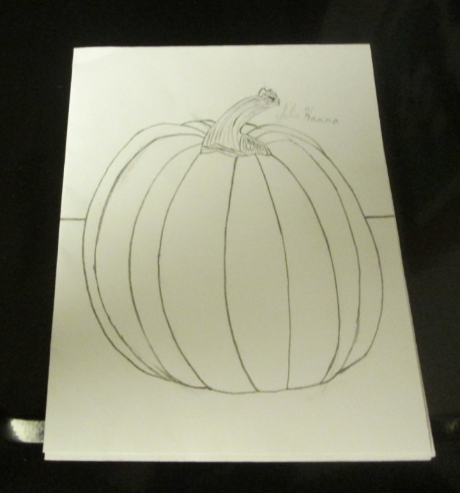I finally finished up the drawing of a pumpkin I started back in November.  Just because an art project is not finished in the past does not mean you cannot return to it later.