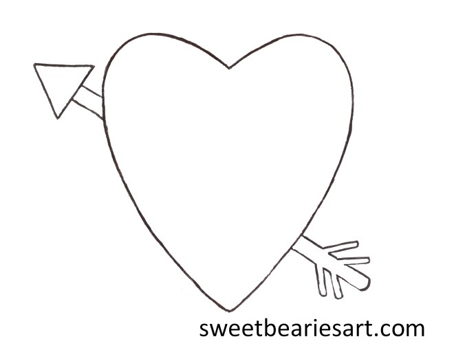 Heart And Arrow Adult Coloring Page
