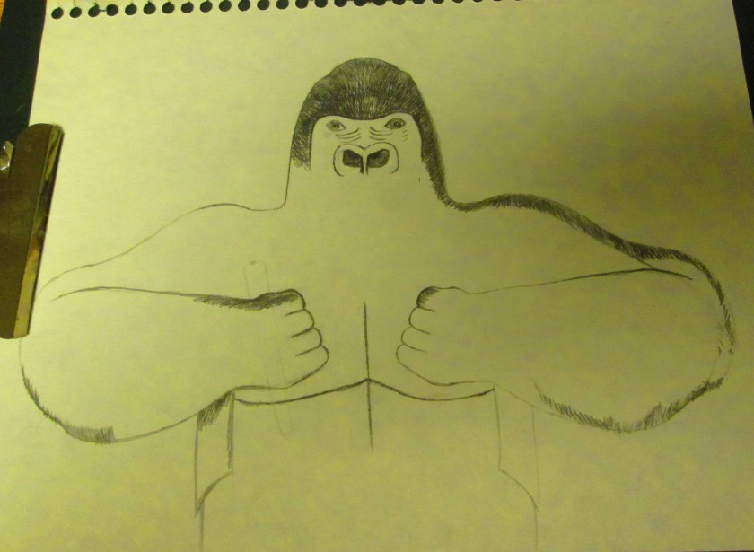 I started drawing the outline of the gorilla.