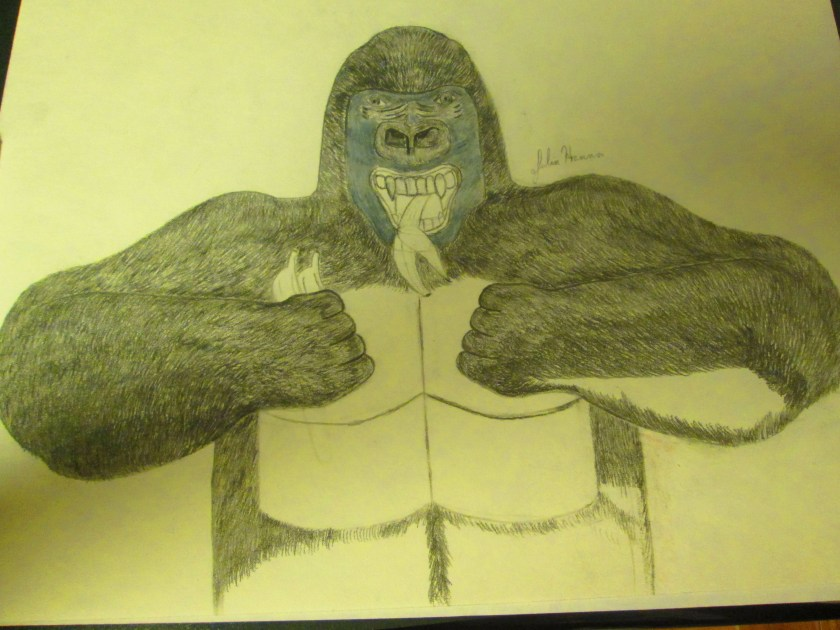The gorilla's fur is almost completely sketched on at this point.