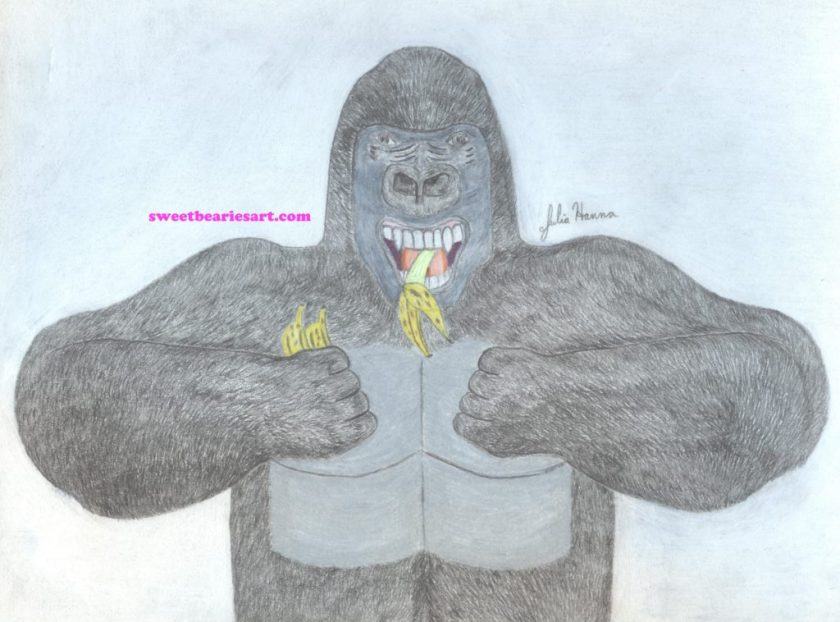 The drawing of a gorilla eating bananas is now complete.