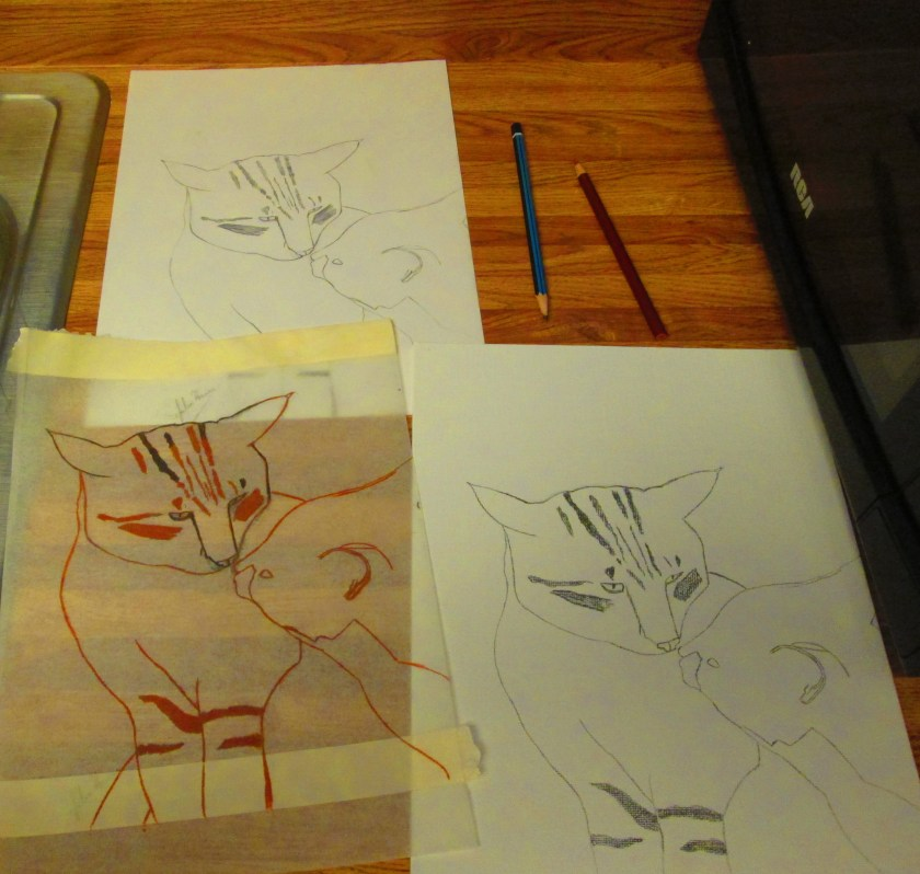 I used tracing paper to transfer the drawing of the two cats to the canvas.