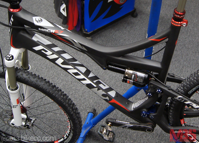 Pivot 5.7 650b featuring BikeCo custom tuned Marzocchi TST R - providing a wide array of capacity.