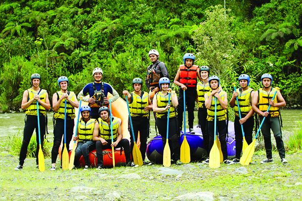 Large Group Of Young People Ready To Go Rafting
