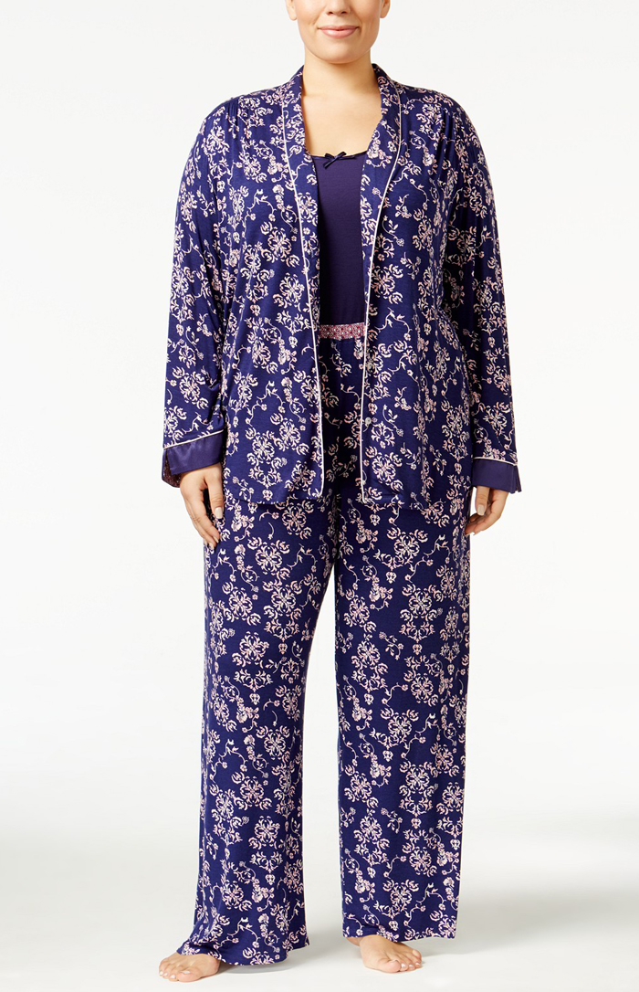 Oscar de la Renta Plus Size pajama 3 Piece Knit Pajama Set