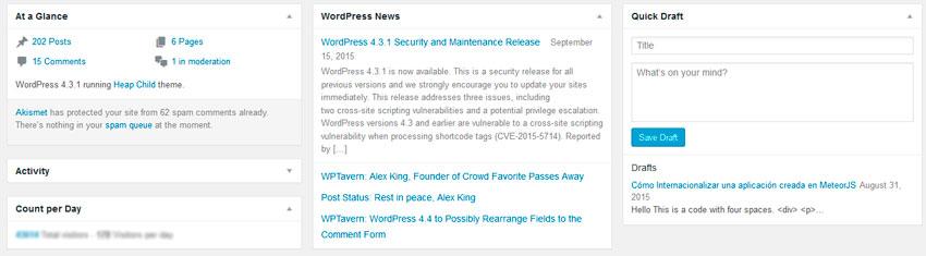 Dashboard de WordPress. Widgets basados en tarjetas
