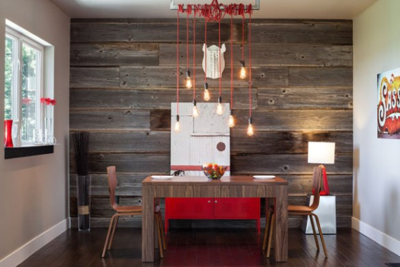 Feature-wall-in-the-dining-room-with-stripes-from-reclaimed-wood