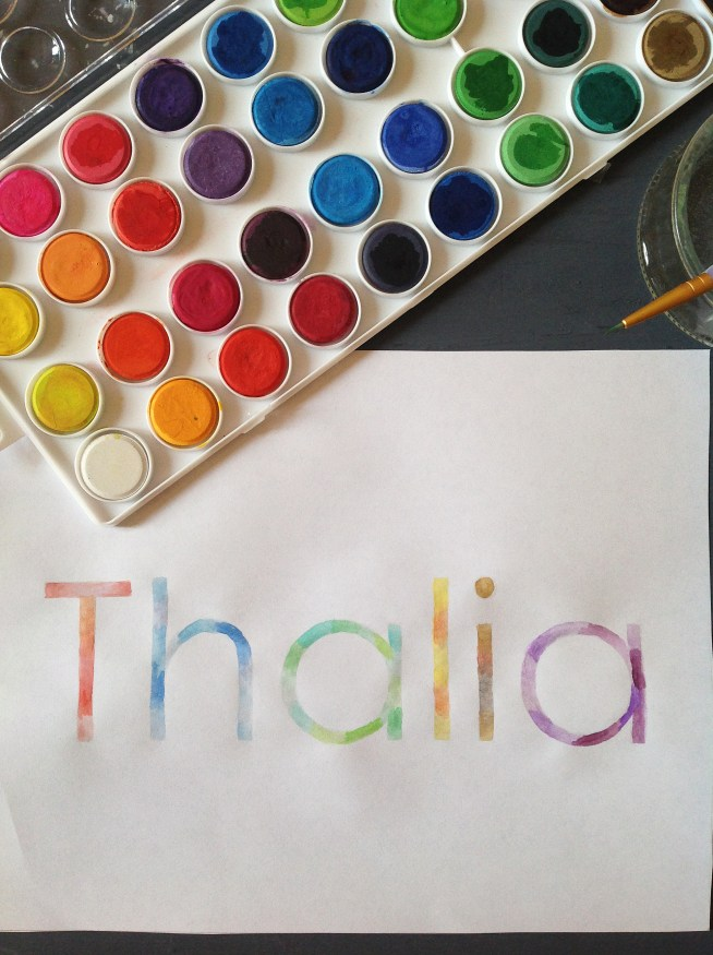 Watercolor Rainbow Name Art (For A Little Girl's Room)