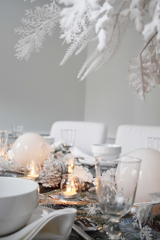 White Forest Christmas Table Setting
