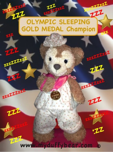 Duffy the Disney Bear's girlfriend ShellieMay accepts her Olympic Gold Medal