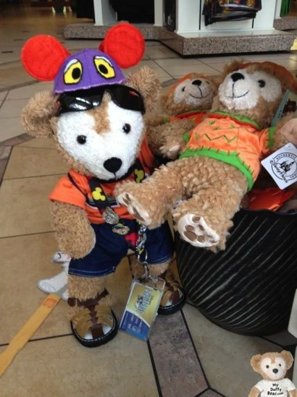 "Duffy the Disney Bear in Magic Kingdom Emporium with a 9"" Halloween Duffy Bear"