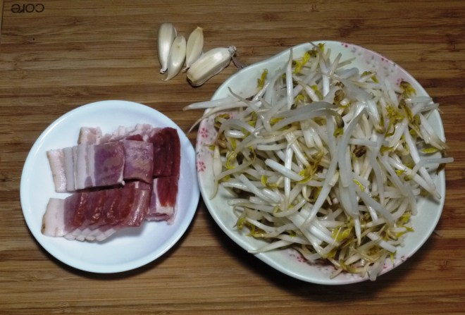 Easy Chinese Recipe - Stirfry Bean sprouts - ingredients