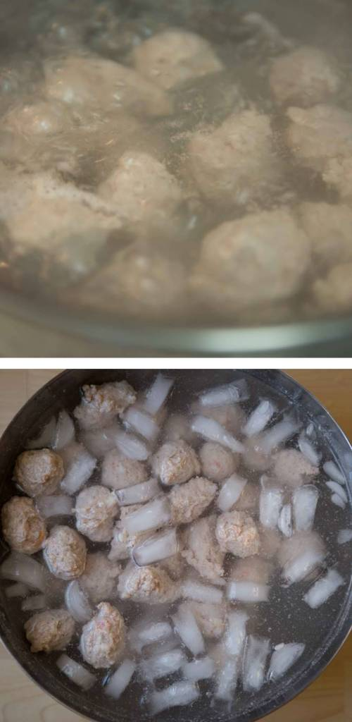 Process of quench meatballs after cooking