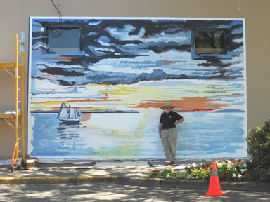 Day 4 of edmonds mural society s third mural of summer for Edmonds mural society