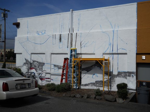 The beginnings of a very big mural no 4 in edmonds my for Edmonds mural society