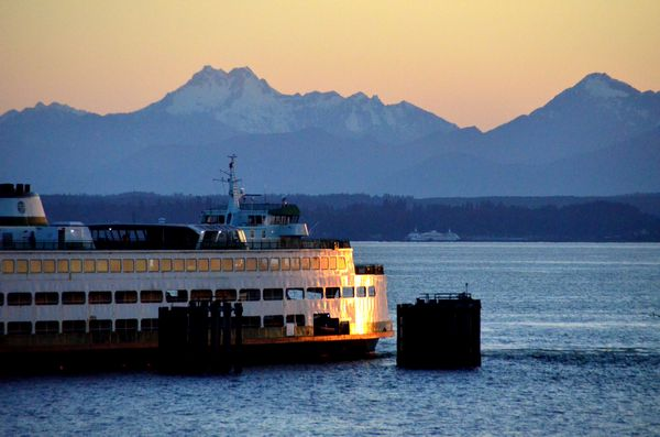 Larry Vogel captured this lovely shot of an Edmonds ferry illuminated by Monday's sunset. with the Olympics serving as a backdrop.