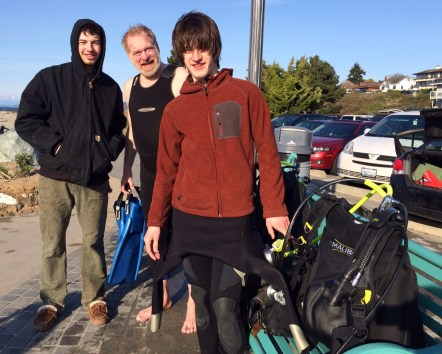 The family that scuba dives together: Bill and his sons Manuel and Abraham.