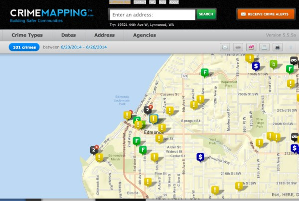 An example of data available through Crimemapping.com