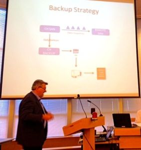 Brian Tuley explains the need for backup storage during his council presentation.