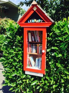 Susan Banks chose bright red for her Little Free Library honoring Virginia and Hal Banks.