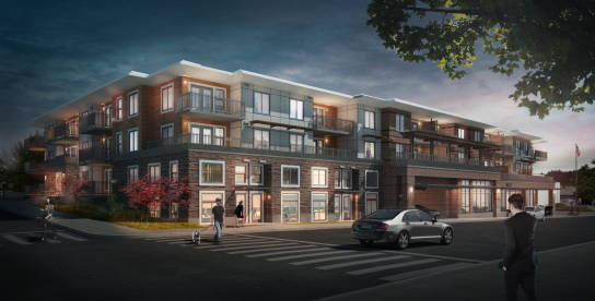 Artist's rendering of the new building that will occupy the northwest corner of Bell Street and Second Avenue N.  Developed by Edmonds 2020 LLC, the building will offer 43 apartment rental units, 57 underground parking spaces, and will house the Edmonds Post Office.