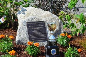 The permanent plaque along with the Chris Guitton trophy, inaugurated this year in Chris's honor, will be presented annually to the winner of the yearly Petanque tournament.  Traditionally held on Bastille Day, the event draws teams from throughout the Pacific Northwest.  This year's tournament will begin at 10 a.m. Sunday, July 13, at the Edmonds Civic Stadium Petanque courts.