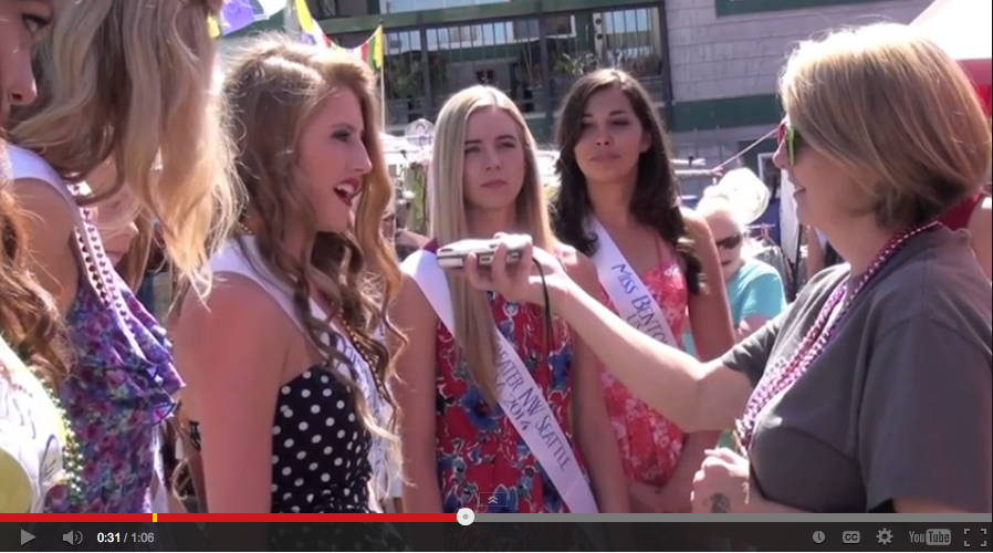Contestants for Miss Washington are interviewed during the Taste of Edmonds Saturday.