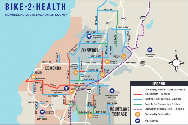 Map of Bike 2 Health routes.