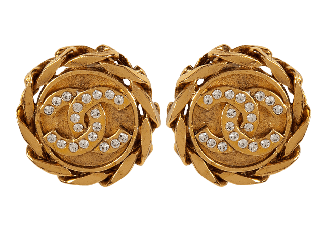 Chanel Vintage Jewelry Gold-Plated Rhinestone CC Earrings